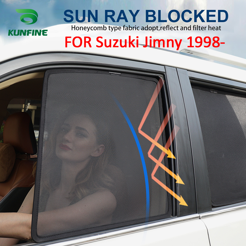 4PCS/Set Magnetic Car Side Window SunShades Mesh Shade Blind For Suzuki Jimny 1998 1999 2000 2001 2002 Car Window Curtian Black