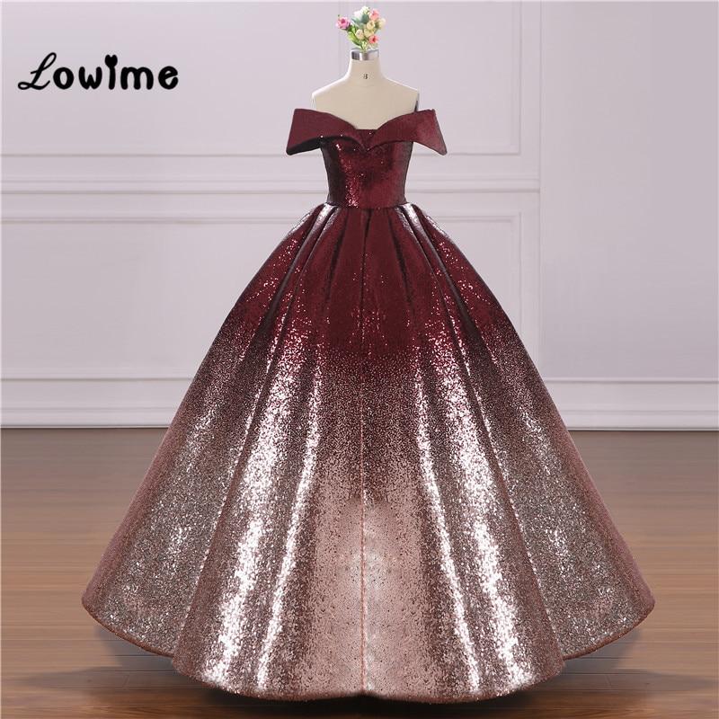 0fb56bef175ab Vestido De Festa Longo Ball Gown Prom Dresses V Neck Arabic Dress Elegant  2018 Sequined Formal ...