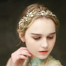 Dower me High Quality Crystal Pearl Bridal Tiara Headband Gold Wedding Hair Vine Accessories Women Jewelry Headpiece