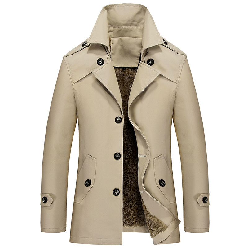 Winter Trench Coat Men Single Breasted Khaki Trench Coat