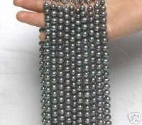 "SALE WHOLESALE 10X High Quality 6-7MM Natural BLACK FRESHWATER PEARL 17"" NECKLACE-1521"