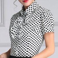Biuro Kobiety Koszula Wzburzyć Szyfonowa Bluzka Plus Rozmiar Lady Koszule Blusas Femininas Casual OL Style Kobiety Work Wear Bluzki S do 4XL