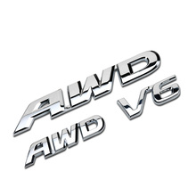 AWD V6 Sticker Emblem Badge For Accord, Crosstour, CR-V in Metal 3 Sizes