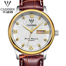 CADISEN Brand Military Sport Watches Analog Display Date Chronograph Genuine Leather Watch Men Watches Relogio Masculino