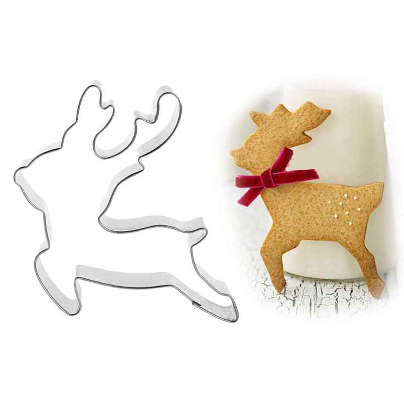 Stainless Steel Pastry Cookie Cutter Biscuit Mold Christmas Deer Reindeer Mould Cake Decor Dec-26A