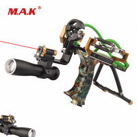 Camo Slingshot in Alloy Stainless Steel with Powerful Catapult and Laser Flashlight fit Outdoor Shooting Hunting Activity