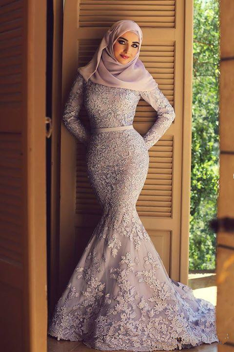 Lavender Muslim   Evening     Dresses   2019 Mermaid Long Sleeves Lace Scarf Islamic Dubai Saudi Arabic Long Formal   Evening   Gown