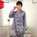 7 Cores dos homens Pijamas de Seda de Luxo De Cetim De Seda Pijamas Pijama Dos Homens, salão Conjuntos de Pijama dos homens Plus Size 3XL Pijama Hombre