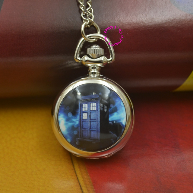 silver Doctor Who Pocket Watch Necklace Pendant fob watches Children kid Men Wom