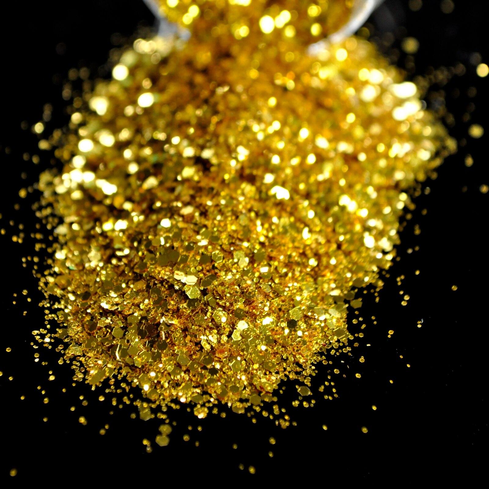Dazzling Makeup Glitter Gold Nagel kunst Mix Größe Glitter DIY ...