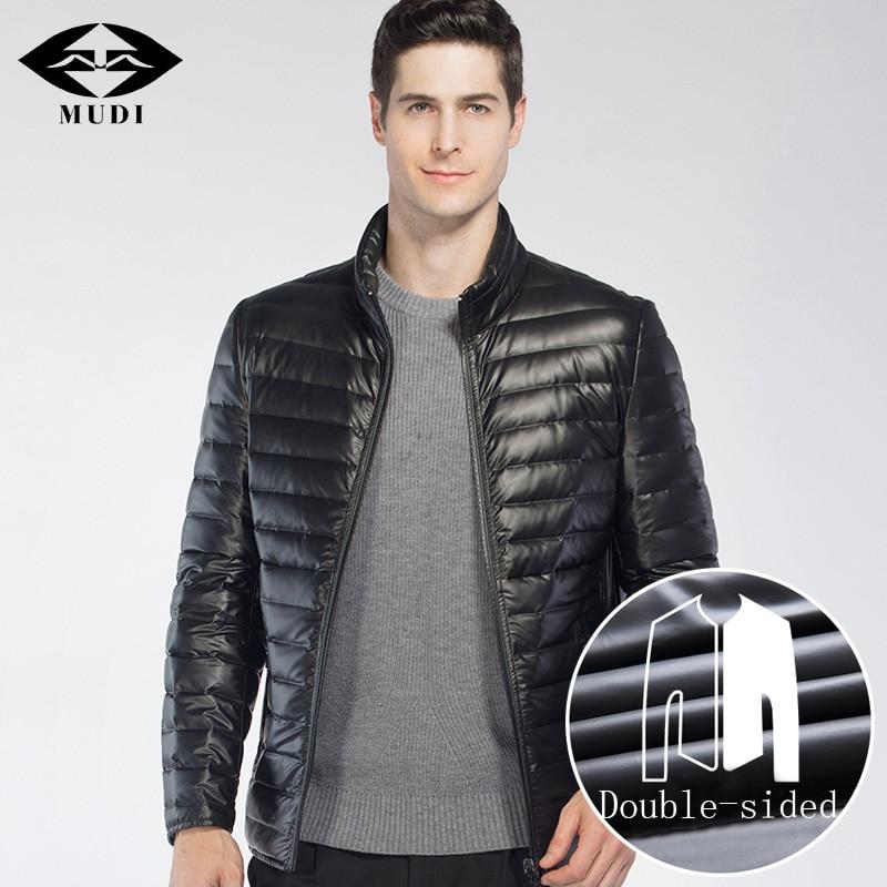 MUDI Lightweight Down Jacket Ultralight Down Coat Reversible Double Wearable 90% Duck Down Winter Jacket Casual Male Size M-6XL