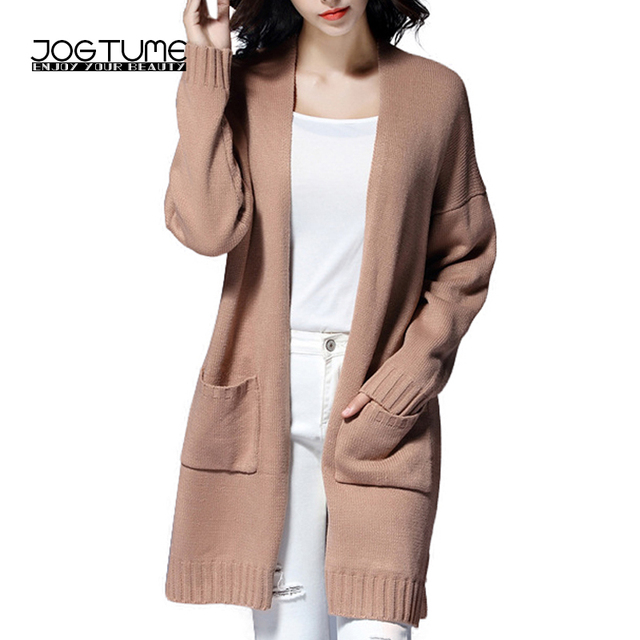 JOGTUME Long Sweater Cardigan Plus Size 2017 Autumn Spring Casual Women s  Baggy Sweaters Chunky Cardigans Warm Outerwear Coats 3de296c4f