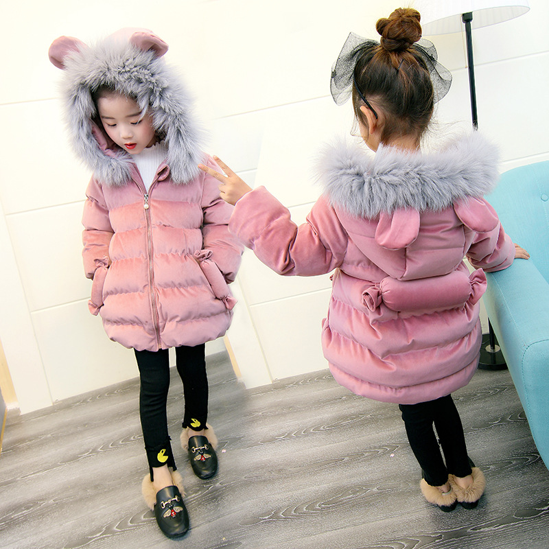Baby Girl Winter Jacket Children Cute Pink Candy Velvet Coat Kids Warm Thick Fur Collar Hooded Long Coats for Little Girl 3Y-7Y 2017 winter kid super large raccoon fur collar jacket girls pink hooded cotton jacket high quality kids thick warm coat 17n1120