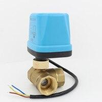 3 way motorized ball valve 24V AC 24V DC electric ball valve electric actuator brass ball valve 3 Wire DN15 DN20 DN25 DN32 DN40
