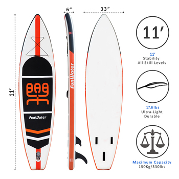 Inflatable Stand Up Paddle Board Sup-Board Surfboard Kayak Surf set 11'x33''x6''with Backpack,leash,pump,waterproof bag 1