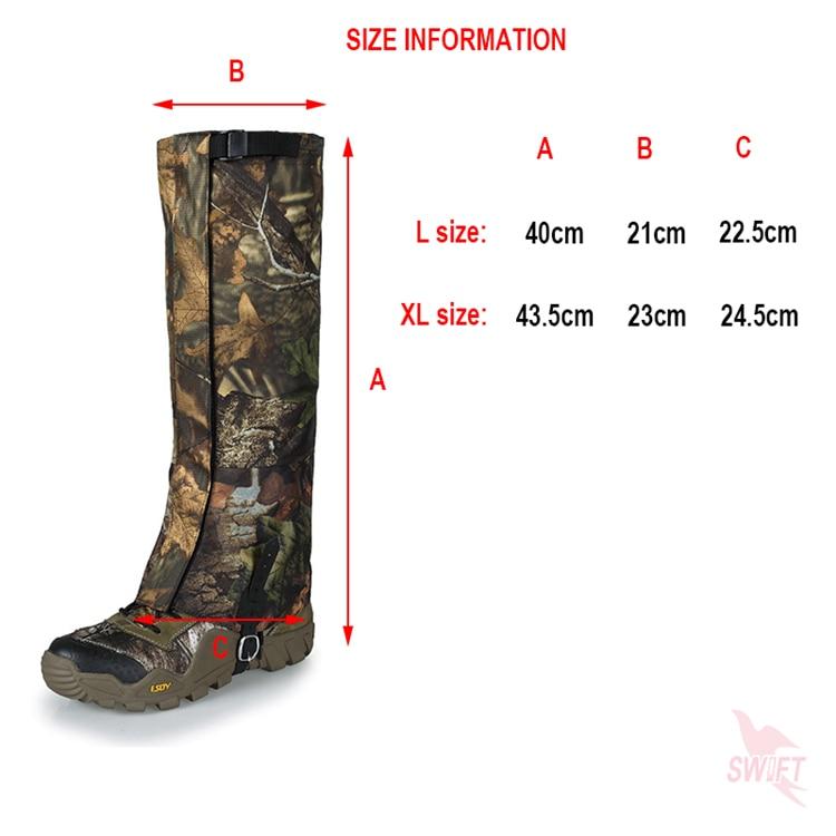 L//XL Camo Waterproof Leg Gaiters Boot Shoes Cover Walking Camping Legging Gators