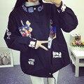 2016 Мода Мультфильм куртка женщин свободные Отпечатано куртка женщин стоять воротник случайные пальто Harajuku стиль осень зима пальто LX6159