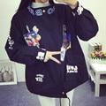 2016 Fashion Cartoon jacket women loose Printed jacket female stand collar casual coat Harajuku style autumn winter coats LX6159