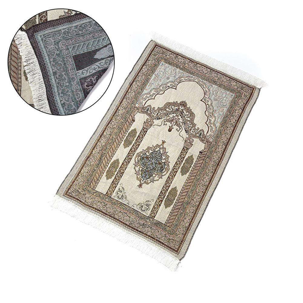 Soft Cotton Islamic Prayer Rug Musallah Sejadah Carpet Janamaz Floor Mats Prayer Blanket 110cm*65cm