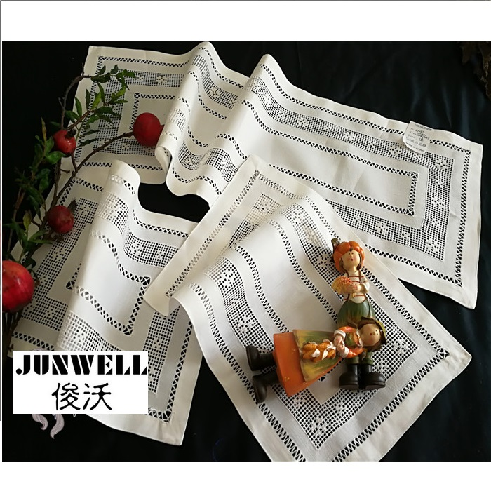 100% Linen traditional handmade drawn work Placemat Table Runner Cutwork For Decoration