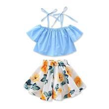 d3266e831de0 Summer Infant Kids Baby Girls Off Shoulder Strap Loose Crop Tops Floral Skirt  Dress Outfits Toddler Clothing Set 2pcs 1-6Y