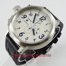 Parnis 50mm Lefty Big Face White dial Full chronograph Quartz Men's watch