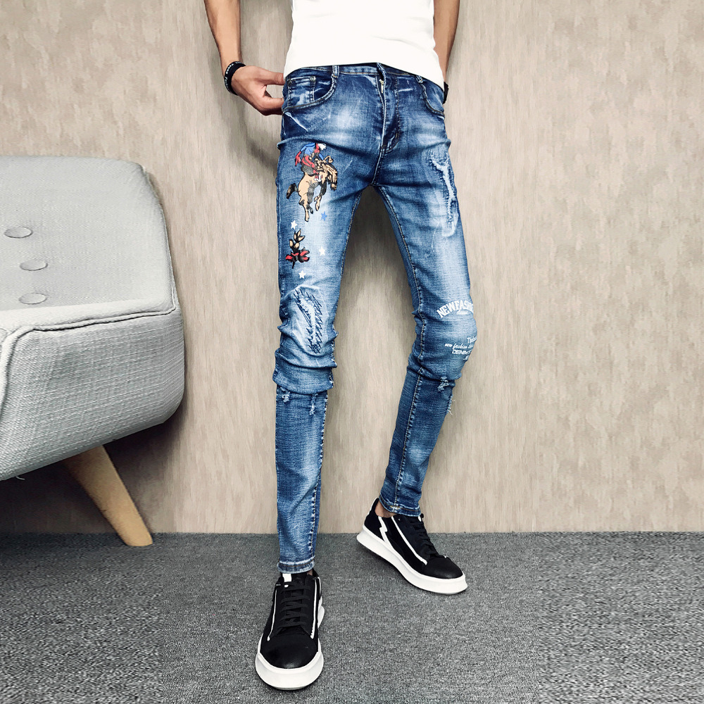 Hot Sale Summer Jeans Men Comfortable Slim Fit Casual Jeans Pants Men Full Length Hip Hop Streetwear Young Men Trousers Jeans 32