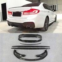 5 Series Carbon Fiber Front Lip Splitters Rear Diffuser Spoiler Body Kits for BMW G30 G31 G38 M Tech M Sport 2017 2018 MP Style