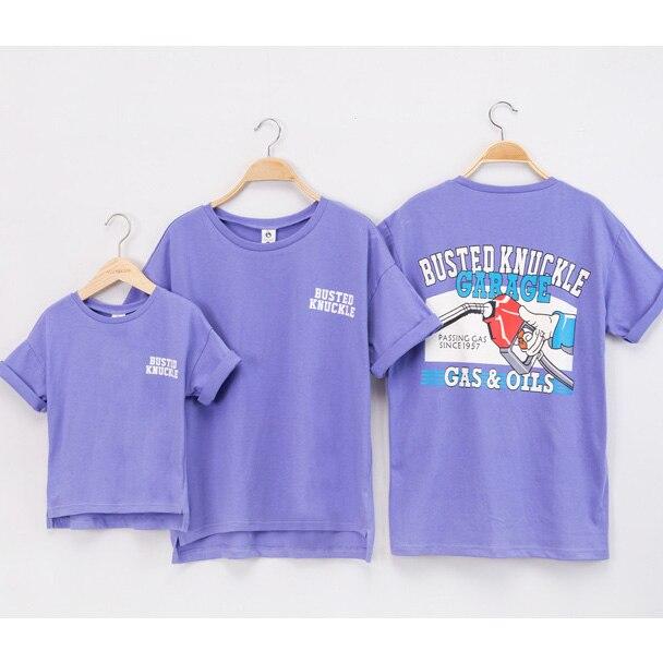 Семья Одинаковая одежда летние новые модные топы для папы, мамы и мальчиков футболки для девочек белый фиолетовый мультфильм одежда с рисун... ...