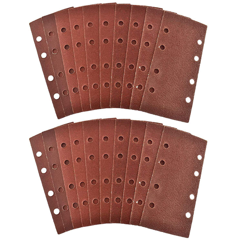 Top Quality Hook/Loop 1/3 Sheet Sanding Sander Sandpaper Pads 20 Pack Mixed Grit 40 120