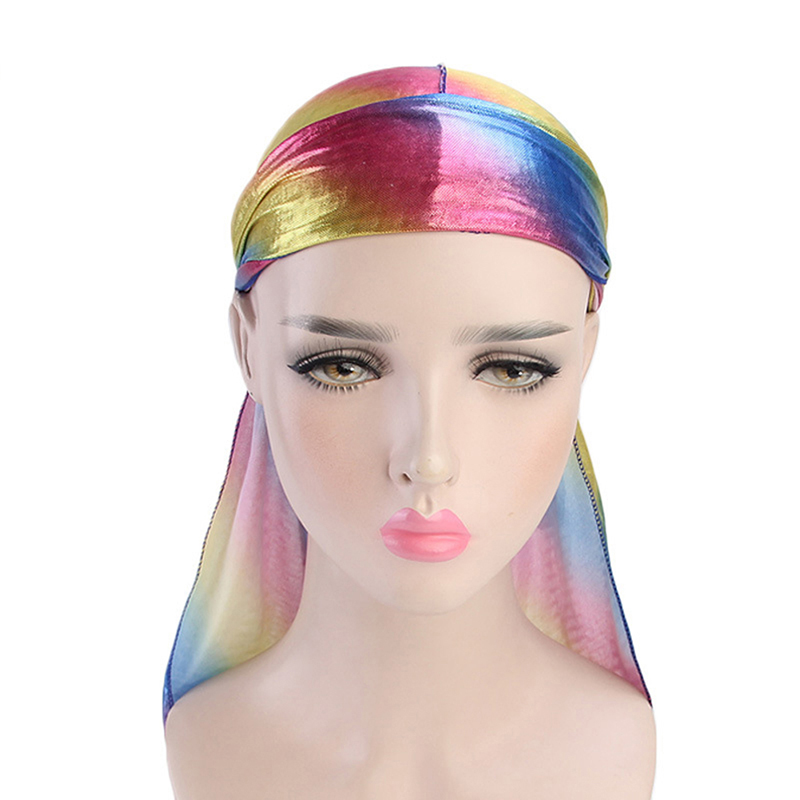 1pc Long Tail Silky Scarf Muslim Doo Rag Pirate Hat Durag Chemo Caps Skull Hat Turban Hair Band Bandanas 6 Colors