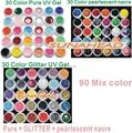 new 90 Mix color nail art  uv gel polish , Pure + pearlescent nacre  + Glitter   colors tools Solid Builder set  kit drop
