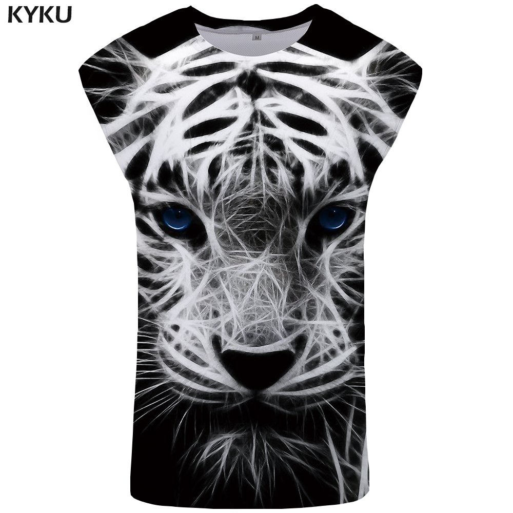 KYKU Tiger   Tank     Top   Men Animal Undershirt Eye Stringer Black Ftness mens Clothing Singlet Vest Sleeveless Shirt Man Clothes 2018