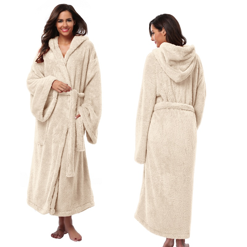 Bathrobe: Women's Hooded Thick Robes Soft Coral Fleece Warm Long