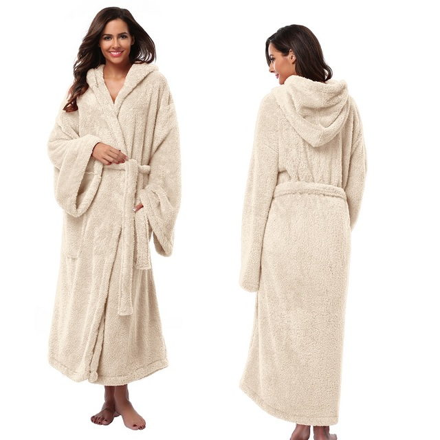 83220bf760 Women s Hooded Thick Robes Soft Coral Fleece Warm Long Bathrobe Plush  Kimono Sleepwear Nightgown Winter Spa Robe With Pocket