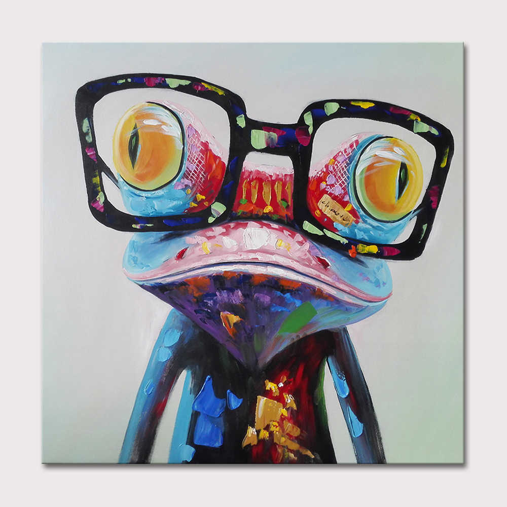 Wear Glasses Frog ,Large Abstract Cartoon Oil Painting On Canvas Paintings Wall Decoration For Baby Room Wall Art Home Decor