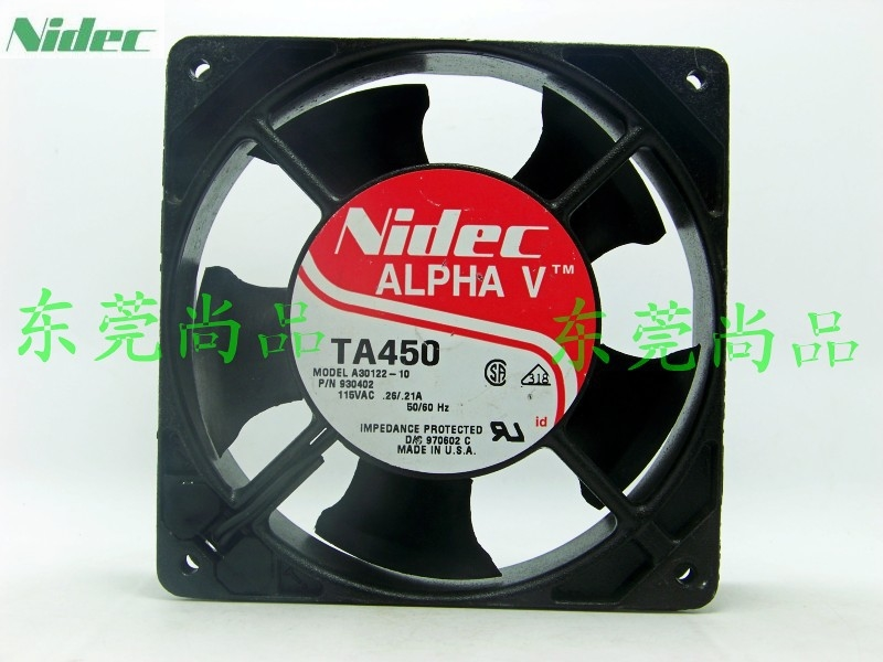 NIDEC ALPHA V TA450 A30122-10 115V 0.25A 12038 120mm 12cm AC industrial cooling Fan alpha hydrox 12% 340g