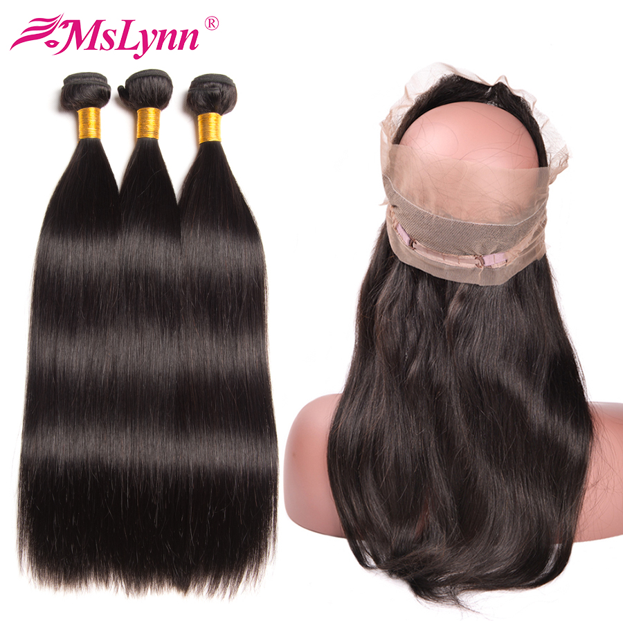 Mslynn 360 Lace Frontal With Bundle Brazilian Straight Hair Bundles With Closure Human Hair 3 Bundles