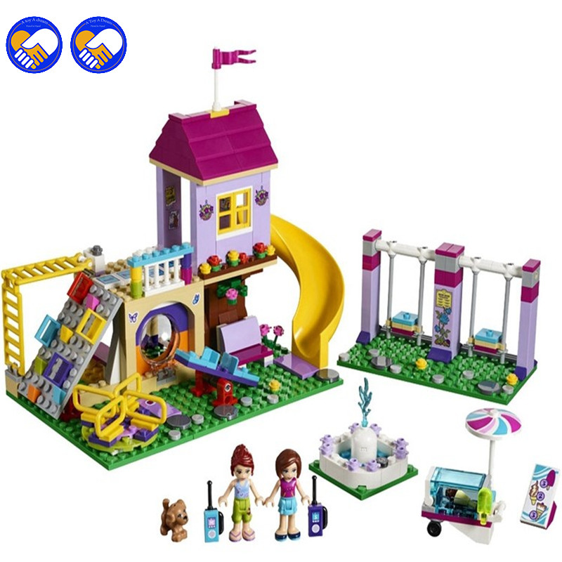 Compatible Legoinglys Friends The Heartlake City Playground Set Girl Model Building Blocks Kits Bricks Children Toy