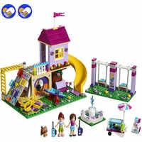 Kompatibel legoinglys Freunde Die Heartlake Stadt Spielplatz Set Mädchen Modell Bausteine Kits Ziegel Kinder Spielzeug