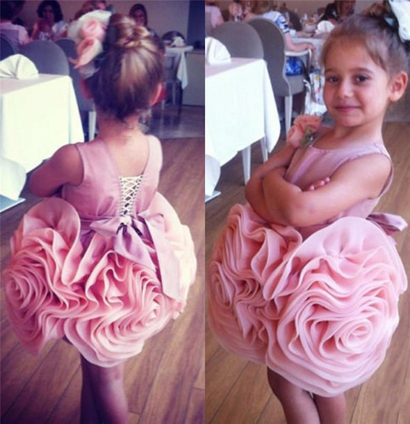Pink 2019 Flower Girl Dresses For Weddings Ball Gown Short Mini Organza Bow Ruffles First Communion Dresses For Little Girls