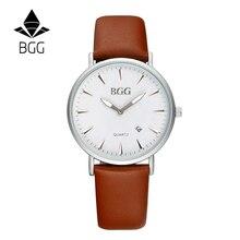 Bgg imple casual reloj de cuero relojes de lujo reloj de los hombres reloj de cuarzo horas relojes de los hombres vestido de marca relogio masculino reloj de los hombres