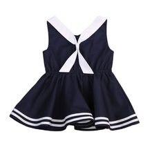 6ba759724cf Pudcoco Bébé costume marin Enfant Enfants Bébé Fille Robe D été Cravate  Sans Manches décontracté Bébé Filles Vêtements Parti rob.