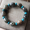 Tibetan Dzi  Bead Natural  Agate  Buddha  Bracelet   Handmade  Kallaite Buddhist  Charm Bangle  Fashion Jewelry