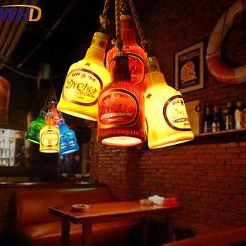 Nordic Style Vintage Multicolor Bottle Pendant Lamp LED Industrial Loft Antique Droplight Bar Restaurant Hemp Rope Hanging Lamp
