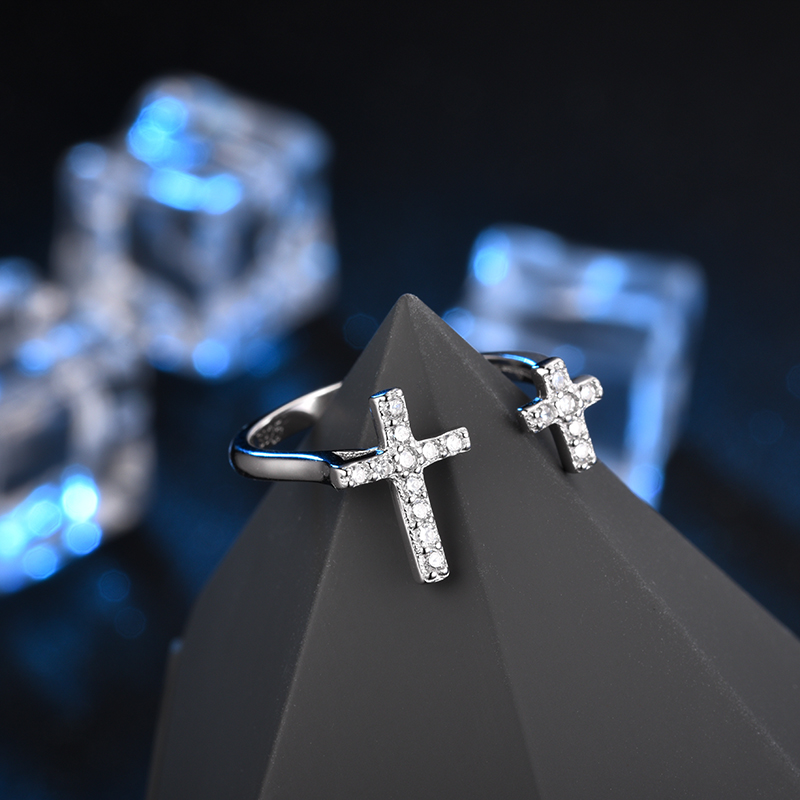 LZESHINE Luxury Silver Rings Faith Cross Shape Open 925 Sterling Silver Finger Ring For Women Gift Jewelry anillo T010068-B