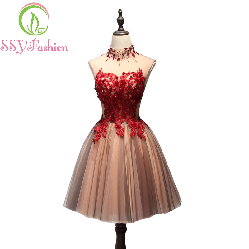 SSYFashion New Luxury Short Evening Dress High-neck Sleeveless Lace Appliques Elegant Banquet Formal Party Gown Robe De Soiree(China)