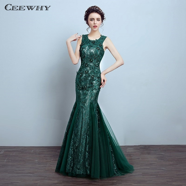CEEWHY Green Lace Mermaid Dress Vestido de Festa Trumpet Evening Dress  Beaded Embroidery Evening Gown Prom Dresses Abendkleider 7f8ebbdf2437