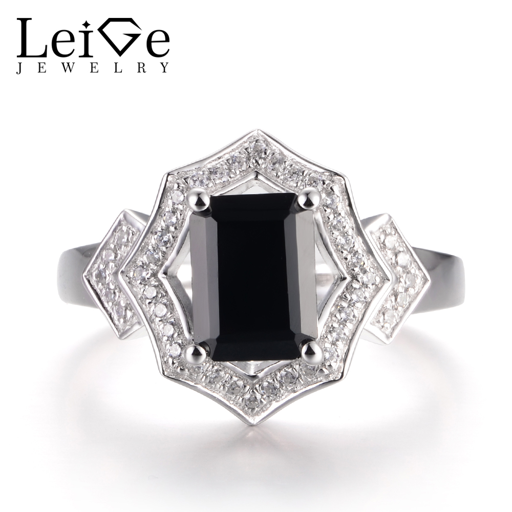 LeiGe Jewelry Natural Black Spinel Anniversary Rings Emerald Cut Black Gemstone Ring Solid 925 Sterling Silver Vintage RingsLeiGe Jewelry Natural Black Spinel Anniversary Rings Emerald Cut Black Gemstone Ring Solid 925 Sterling Silver Vintage Rings