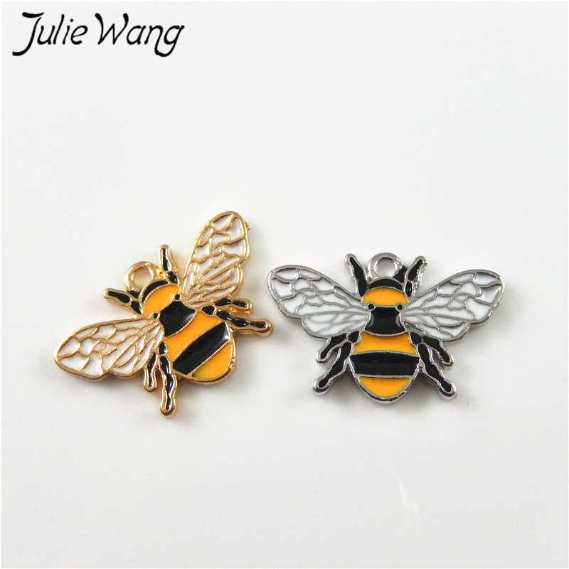 Julie Wang 8pcs Colorful Cute Honey Bee Shape Enamel Alloy